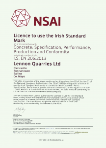 Certificate to use Irish Standard Mark